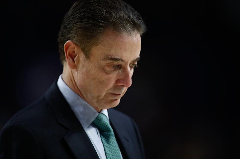 Rick Pitino of Panathinaikos looks on during a EuroLeague basketball match played between Real Madrid Baloncesto and Panathinaikos BC at Wizink Center pavilion on Feb. 24, 2020. (Oscar J. Barroso/Getty Images)
