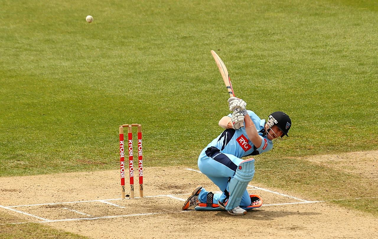 SYDNEY, AUSTRALIA - OCTOBER 27:  Nic Maddinson of the Blues bats during the Ryobi Cup Final match between the Queensland Bulls and the New South Wales Blues at North Sydney Oval on October 27, 2013 in Sydney, Australia.  (Photo by Mark Nolan/Getty Images)