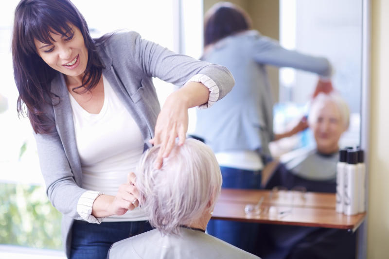 Senior woman at the hairdresser's