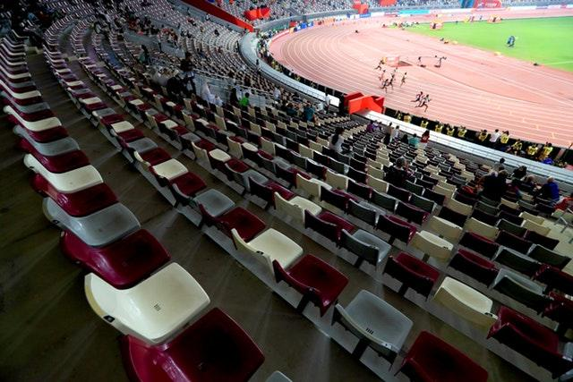 The Women's 200 metres heats take place in front of banks of empty seats (Mike Egerton/PA)