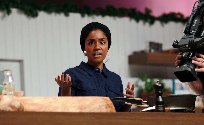 BIRMINGHAM - AUGUST 30: Nadiya Hussain cooking in the Big Kitchen at the BBC Good Food Show winter 2018 , held at the NEC Birmingham on November 30, 2018 in England. (Photo by MelMedia/GC Images)