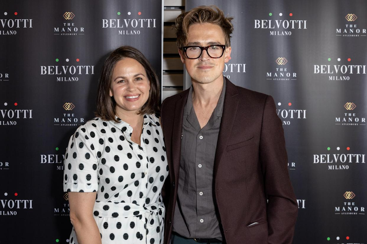 ALYESBURY, UNITED KINGDOM - 2021/07/29: Giovanna and Tom Fletcher attend the launch party for Mario Falcone's new trainer brand, Belvotti Milano, held at The Manor, Aylesbury. (Photo by Phil Lewis/SOPA Images/LightRocket via Getty Images)