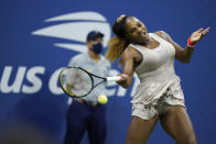 Serena Williams, of the United States, returns a shot to Victoria Azarenka, of Belarus, during a semifinal match of the US Open tennis championships, Thursday, Sept. 10, 2020, in New York. (AP Photo/Frank Franklin II)