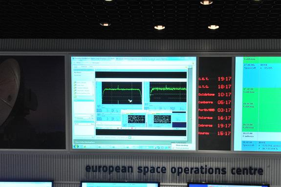 The wake-up signal from the European Space Agency's Rosetta spacecraft can be seen in this photo from ESA's Spacecraft Operations Center in Darmstadt, Germany on Jan. 20, 2014. Rosetta awoke from a 31-month slumber to prepare for its arrival at