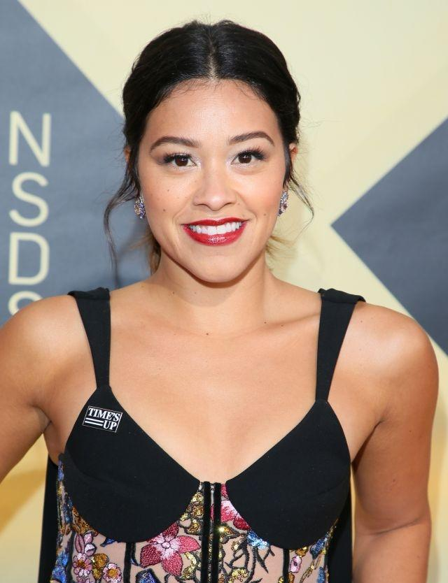 Gina Rodriguez arriving for the 24th Annual Screen Actors Guild Awards at the Shrine Exposition Center on January 21, 2018, in Los Angeles, California