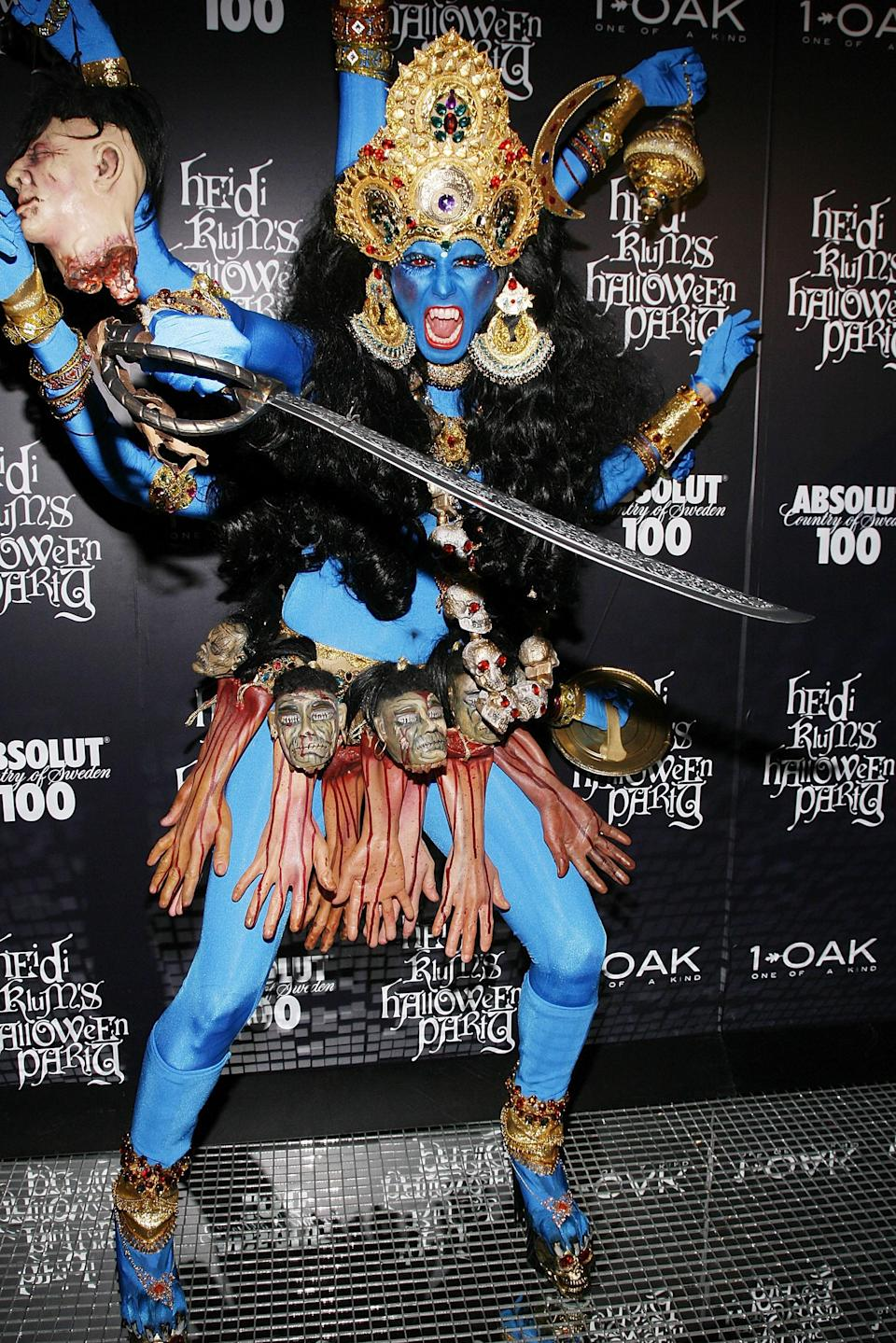 "In 2008, Klum dressed up as Kali, a Hindu goddess, but the costume received backlash from many Hindus who called the look ""<a href=""https://www.vogue.co.uk/article/heidi-klums-halloween-under-fire?mbid=synd_yahoo_rss"" rel=""nofollow noopener"" target=""_blank"" data-ylk=""slk:denigrating"" class=""link rapid-noclick-resp"">denigrating</a>."""