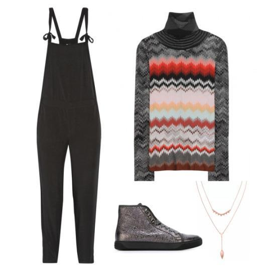 """<p><span>Cropped Voile Overalls</span>, Madewell $130<br><span>Knitted Wool Turtleneck Sweater</span>, Missoni $900<br><a href=""""http://click.linksynergy.com/fs-bin/click?id=30KlfRmrMDo&subid=&offerid=255436.1&type=10&tmpid=10034&RD_PARM1=http%253A%252F%252Fwww.farfetch.com%252Fau%252Fshopping%252Fwomen%252Fmoncler-hi-top-sneakers-item-11132188.aspx%253Fstoreid%253D9309%2526ffref%253Dlp_pic_344_8_"""" rel=""""nofollow noopener"""" target=""""_blank"""" data-ylk=""""slk:Hi-Top Sneakers"""" class=""""link rapid-noclick-resp"""">Hi-Top Sneakers</a>, Moncler $897<br><a href=""""http://www.stelladot.com/shop/en_us/p/jewelry/necklaces/necklaces-all/tiered-lariat-necklace"""" rel=""""nofollow noopener"""" target=""""_blank"""" data-ylk=""""slk:Tiered Lariat Necklace"""" class=""""link rapid-noclick-resp"""">Tiered Lariat Necklace</a>, Stella & Dot $59</p>"""