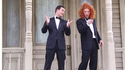 """Comedian Carrot Top joined Brian Evans in the first ever music video filmed at """"The Bates Motel."""" Approved by The Alfred Hitchcock Estate, the video was filmed on the iconic film lot for the movie """"Psycho."""" (PRNewsfoto/Thematic Productions)"""