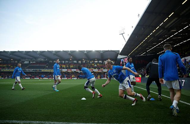 """Soccer Football - Premier League - Watford vs Everton - Vicarage Road, Watford, Britain - February 24, 2018 Everton's Tom Davies and team mates during the warm up before the match Action Images via Reuters/Andrew Couldridge EDITORIAL USE ONLY. No use with unauthorized audio, video, data, fixture lists, club/league logos or """"live"""" services. Online in-match use limited to 75 images, no video emulation. No use in betting, games or single club/league/player publications. Please contact your account representative for further details."""