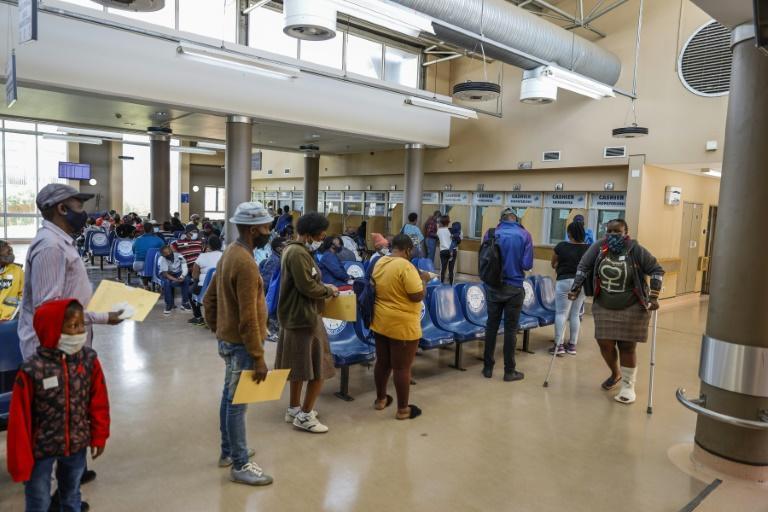 The waiting area at Thembisa Hospital, where Covid-19 admissions have fallen sharply recently -- though there are fears a third wave could be on its way