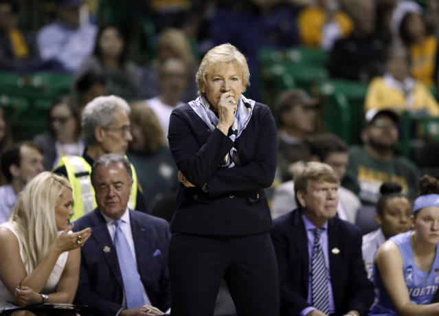 Sylvia Hatchell, who coached UNC women's basketball for more than three decades, was cited after 89-year-old Betty Colby was struck and killed by a car in a parking lot this week. (AP/Tony Gutierrez)