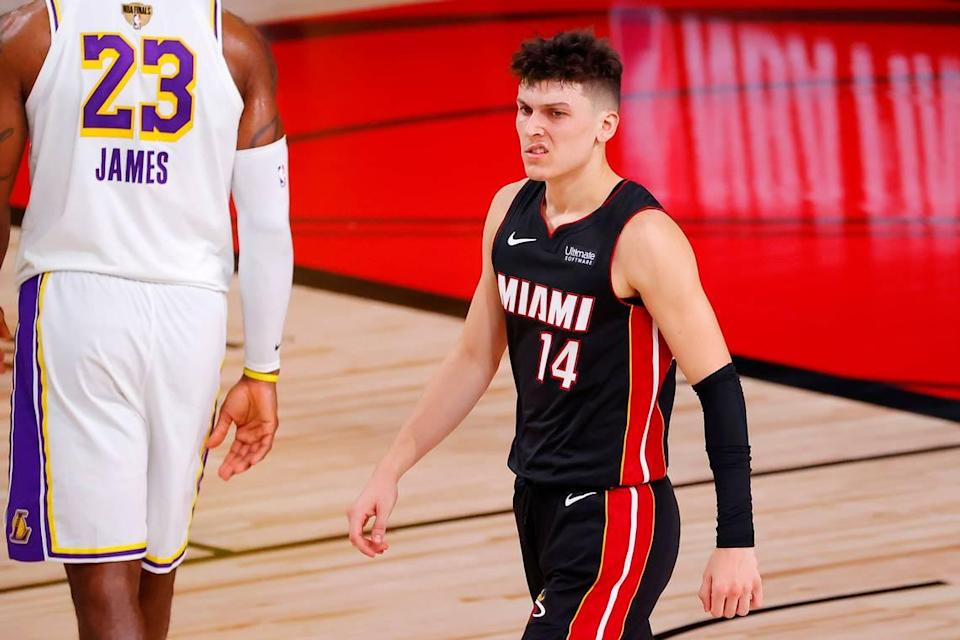 Tyler Herro #14 of the Miami Heat reacts during the second half against the Los Angeles Lakers in Game 3 of the 2020 NBA Finals at AdventHealth Arena at ESPN Wide World Of Sports Complex on Oct. 4, 2020 in Lake Buena Vista.