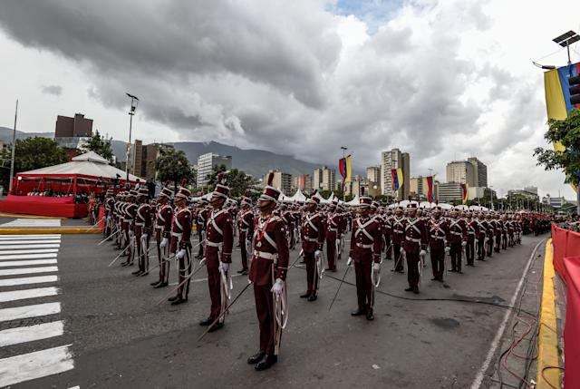 <p>Picture taken during a ceremony attended by Venezuelan President Nicolas Maduro to celebrate the 81st anniversary of the National Guard in Caracas on Aug. 4, 2018. (Photo: Juan Barreto/AFP/Getty Images) </p>