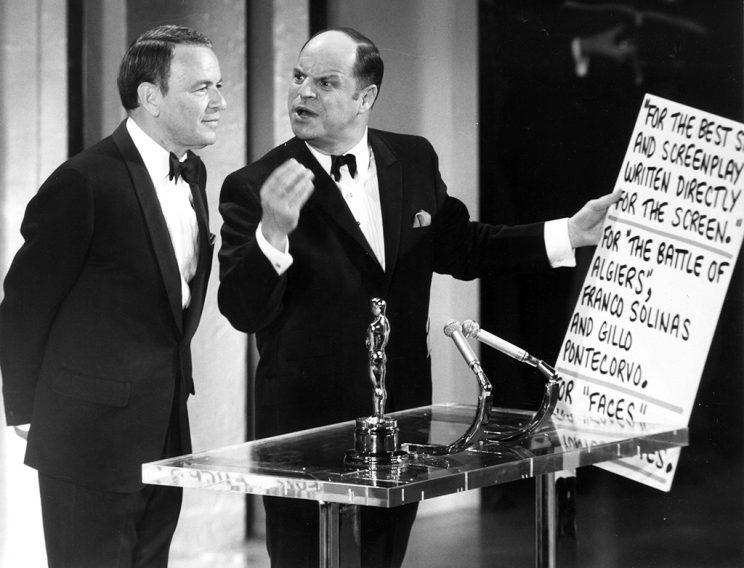 From left, Frank Sinatra, Don Rickles at the Academy Awards, April 14, 1969