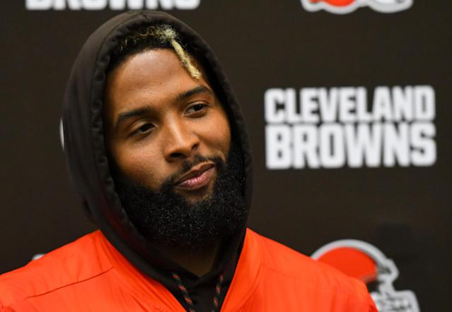 "BEREA, OH - JUNE 5, 2019: Wide receiver Odell Beckham Jr.#13 of the <a class=""link rapid-noclick-resp"" href=""/nfl/teams/cleveland/"" data-ylk=""slk:Cleveland Browns"">Cleveland Browns</a> speaks during a press conference after a mandatory mini camp practice on June 5, 2019 at the Cleveland Browns training facility in Berea, Ohio. (Photo by: 2019 Nick Cammett/Diamond Images/Getty Images)"