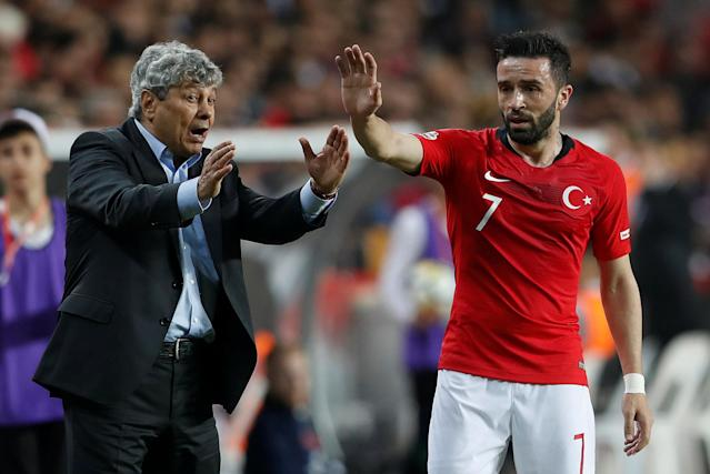 Soccer Football - International Friendly - Turkey vs Republic of Ireland - New Antalya Stadium, Antalya, Turkey - March 23, 2018 Turkey coach Mircea Lucescu with Gokhan Gonul REUTERS/Murad Sezer