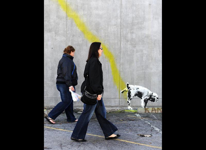 A graffiti attributed to secretive British artist Banksy shows a dog urinating on a wall in Beverly Hills, California on February 17, 2011. Another graffiti was ripped down Wednesday, February 16th in Hollywood, amid sightings of other pieces in a reported pre-Oscars publicity stunt. Banksy is nominated for best documentary for 'Exit Through the Gift Shop' at the Oscars, due to be announced on February 27th at the climax of Tinseltown's annual awards season. AFP PHOTO / GABRIEL BOUYS (Photo credit should read GABRIEL BOUYS/AFP/Getty Images)