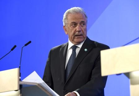 FILE PHOTO: European Commissioner for Migration and Home Affairs Dimitris Avramopoulos attends a news conference in Helsinki