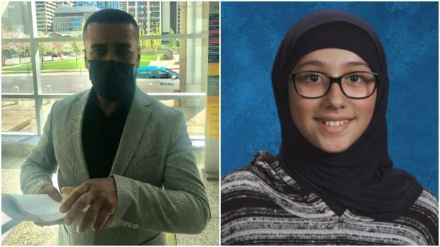 Ali Al-Aazawi, left, abducted his daughter Zahraa in the summer of 2018, leaving her with his family in Iraq. Al-Aazawi was convicted Tuesday and will be sentenced in October. Zahraa's mother has not seen her daughter in three years.  (Meghan Grant/CBC, Calgary Police Service - image credit)