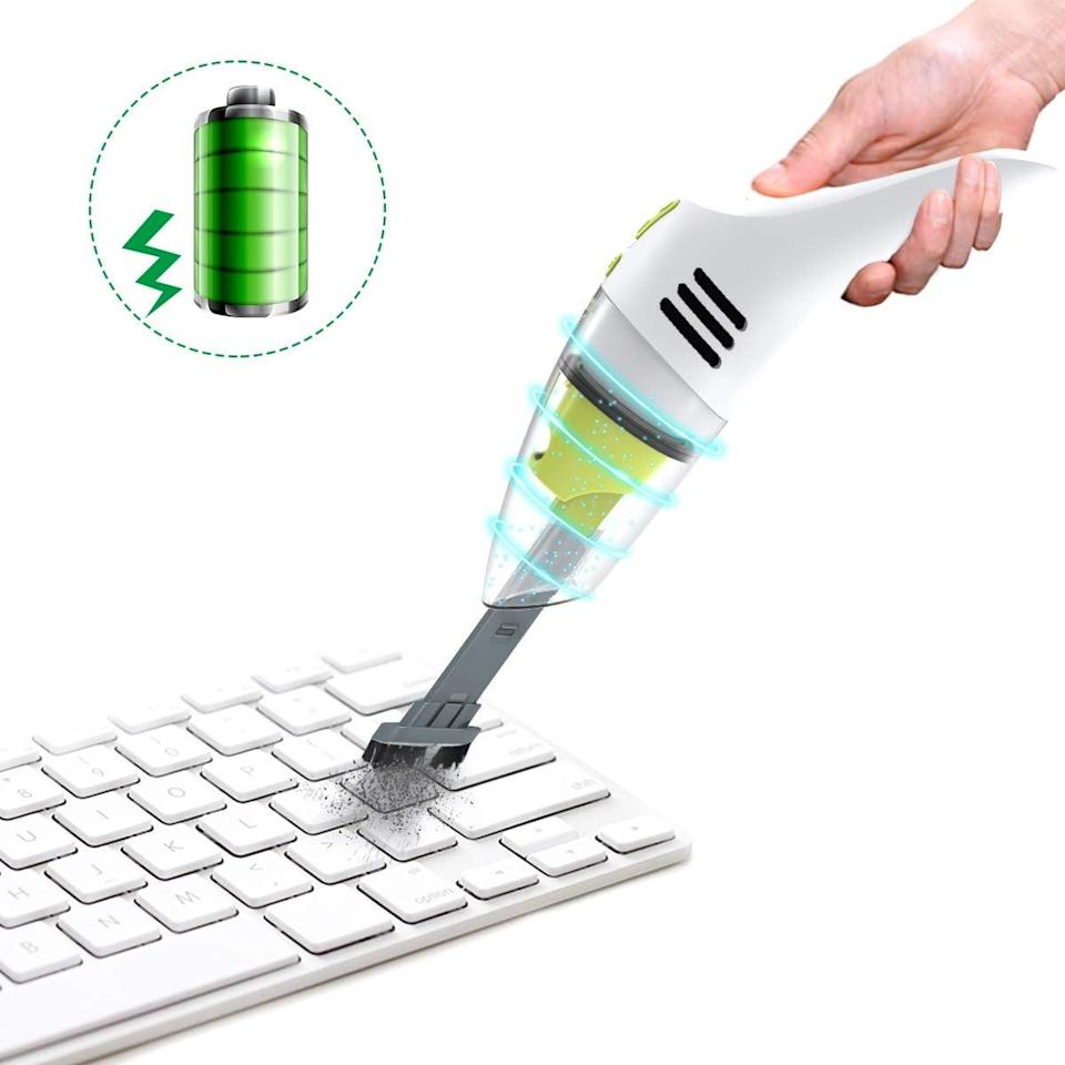"""<p>This <a href=""""https://www.popsugar.com/buy/Meco-Rechargeable-Mini-Vacuum-469498?p_name=Meco%20Rechargeable%20Mini%20Vacuum&retailer=amazon.com&pid=469498&price=26&evar1=geek%3Aus&evar9=36026397&evar98=https%3A%2F%2Fwww.popsugar.com%2Ftech%2Fphoto-gallery%2F36026397%2Fimage%2F46677785%2FMeco-Rechargeable-Mini-Vacuum&list1=gifts%2Cgift%20guide%2Cdigital%20life%2Ctech%20gifts%2Cgifts%20for%20men&prop13=mobile&pdata=1"""" class=""""link rapid-noclick-resp"""" rel=""""nofollow noopener"""" target=""""_blank"""" data-ylk=""""slk:Meco Rechargeable Mini Vacuum"""">Meco Rechargeable Mini Vacuum</a> ($26) is so useful.</p>"""