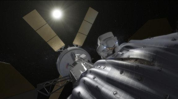 This concept image shows an astronaut preparing to take samples from the captured asteroid after it has been relocated to a stable orbit in the Earth-moon system. Hundreds of rings are affixed to the asteroid capture bag, helping the astronaut