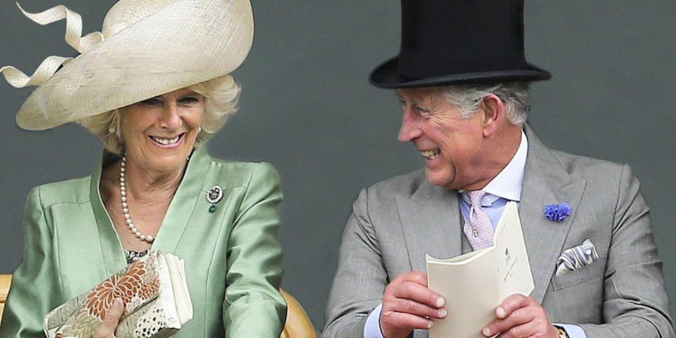 <p>Sharing a laugh with his wife, Camilla, Duchess of Cornwall, at the Royal Ascot. </p>