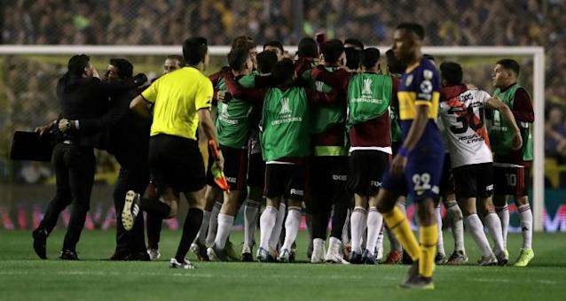River Plate will play the winners of Wednesday's all-Brazilian clash between Flamengo and Gremio in the final in Santiago next month (AFP Photo/Alejandro PAGNI)