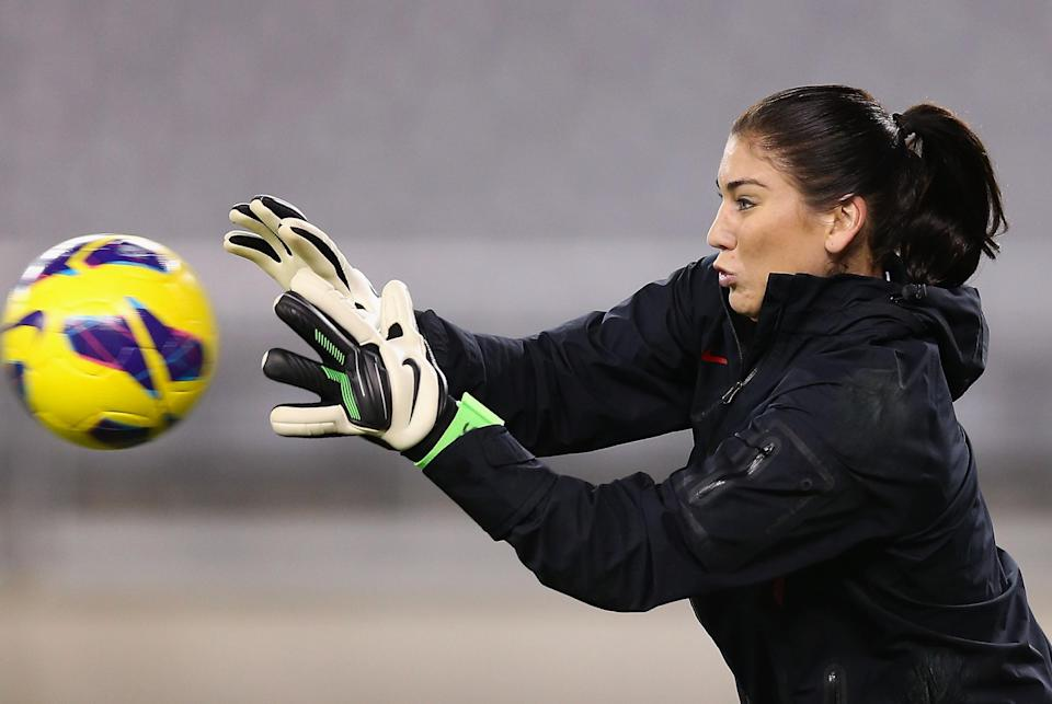 GLENDALE, AZ - DECEMBER 01: Goaltender Hope Solo #1 of USA warms up before the game against Ireland at University of Phoenix Stadium on December 1, 2012 in Glendale, Arizona. USA defeated Ireland 2-0. (Photo by Christian Petersen/Getty Images)