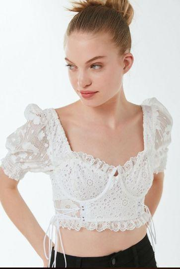 For Love & Lemons Indio Lace Bustier Cropped Top
