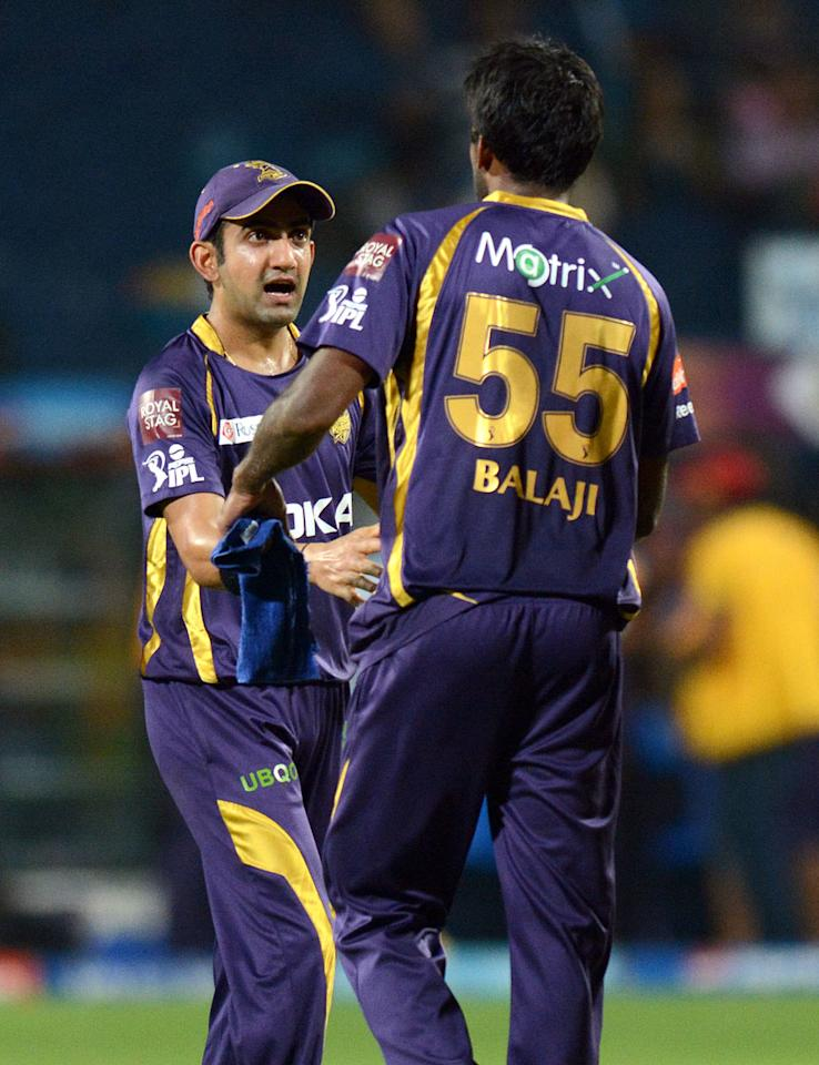 Lakshmipathy Balaji of Kolkata Knight Riders celebrates after winning match 56 of the Pepsi Indian Premier League ( IPL) 2013  between The Pune Warriors India and the Kolkata Knight Riders held at the Subrata Roy Sahara Stadium, Pune on the 9th May 2013. (BCCI)
