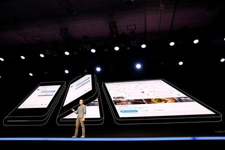 "Glen Murphy, Head of Android UX at Google, speaks during the unveiling of Samsung's new ""Infinity Flex"" foldable display, during the Samsung Developers Conference in San Francisco, California, U.S., November 7, 2018. REUTERS/Stephen Lam"