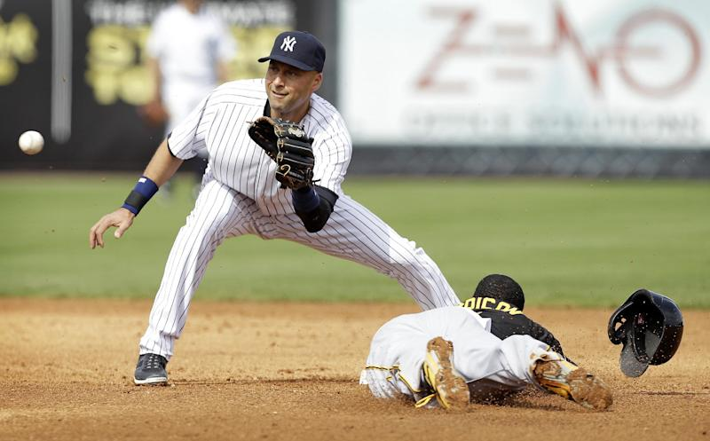 Jeter goes hitless in first exhibition game