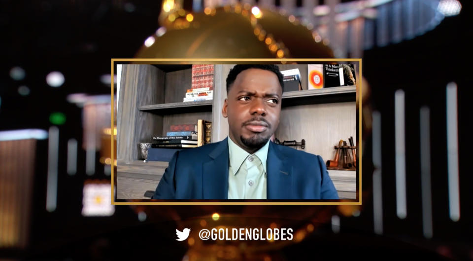 """UNSPECIFIED: 78th Annual GOLDEN GLOBE AWARDS -- Pictured in this screengrab released on February 28, (l-r) Daniel Kaluuya, winner of Best Actor in a Supporting Role in Any Motion Picture for """"Judas and the Black Messiah"""", speaks during the 78th Annual Golden Globe Awards broadcast on February 28, 2021. -- (Photo by NBC/NBCU Photo Bank via Getty Images)"""