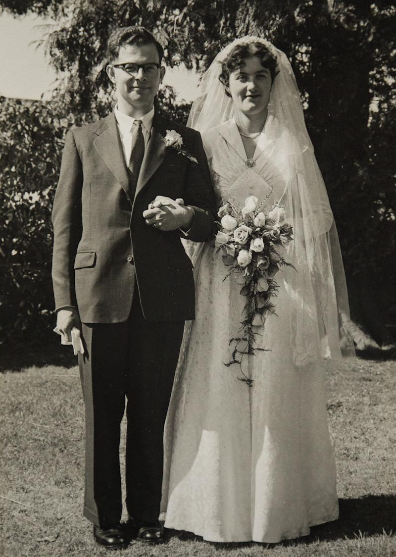 The couple on their wedding day in 1956 (Picture: SWNS)