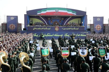 Iranian President Hassan Rouhani delivers a speech during the ceremony of the National Army Day parade in Tehran