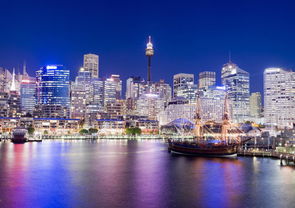 The skyline of Darling Harbour, Sydney at night time. (Source: Getty)