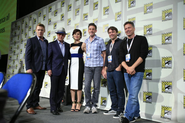 "Diego Klattenhoff, James Spader, Megan Boone, and executive producers Jon Bokenkamp, John Fox, and John Eisendrath at the ""Blacklist"" Panel at the 2013 San Diego Comic-Con on July 19, 2013 in San Diego, California."