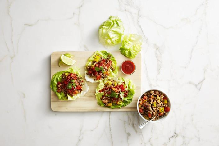 """<p>This no-utensils-required main will win over the whole family. </p><p><em><a href=""""https://www.goodhousekeeping.com/food-recipes/easy/a42833/thai-turkey-lettuce-wraps-recipe/"""" rel=""""nofollow noopener"""" target=""""_blank"""" data-ylk=""""slk:Get the recipe for Savory Thai Turkey Lettuce Wraps »"""" class=""""link rapid-noclick-resp"""">Get the recipe for Savory Thai Turkey Lettuce Wraps »</a></em> </p>"""