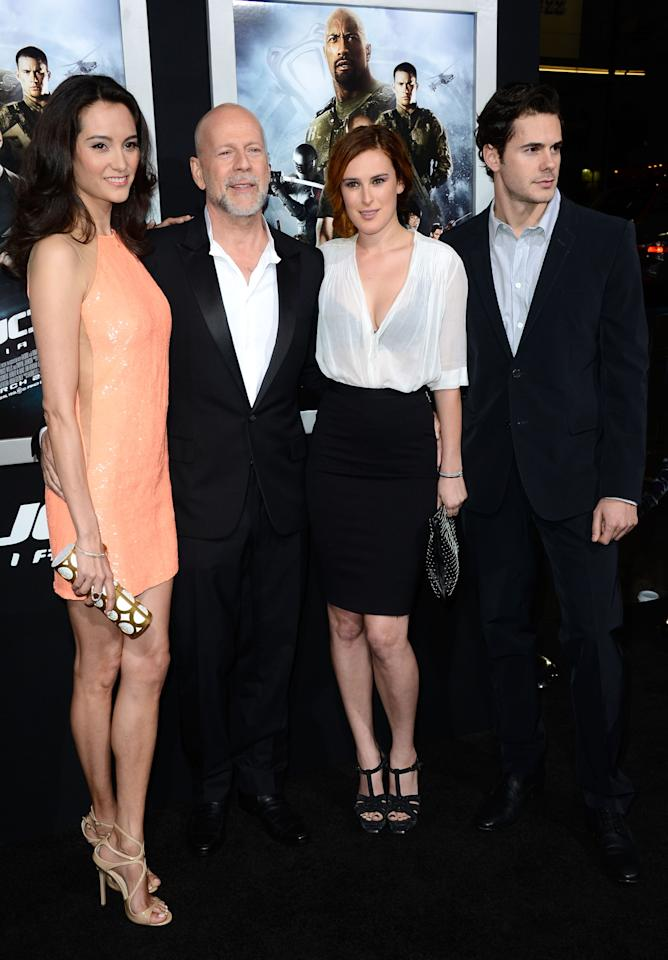 """HOLLYWOOD, CA - MARCH 28:  (L-R) Emma Heming, actor Bruce Willis, Rumer Willis and Jayson Blair arrivesat the Premiere of Paramount Pictures' """"G.I. Joe: Retaliation"""" at TCL Chinese Theatre on March 28, 2013 in Hollywood, California.  (Photo by Frazer Harrison/Getty Images)"""