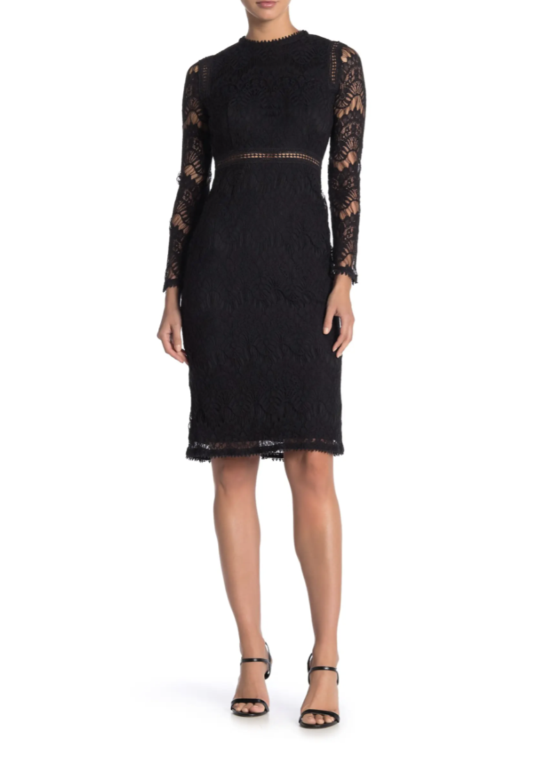 Fall wedding guest dresses: Love by Design Lace Long Sleeve Midi Dress in Black (Photo via Nordstrom Rack)