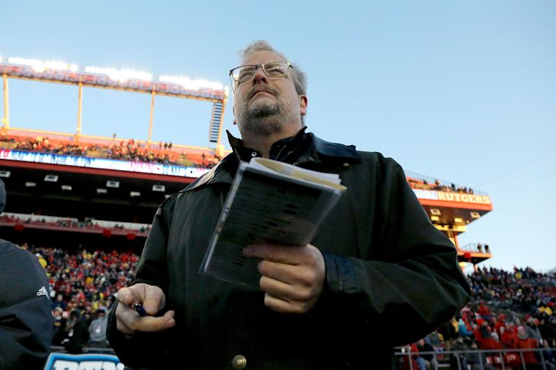 New York Jets general manager Mike Maccagnan watches the first half of an NCAA college football game between Rutgers and Michigan, Saturday, Nov. 10, 2018, in Piscataway, N.J. (AP Photo/Julio Cortez)