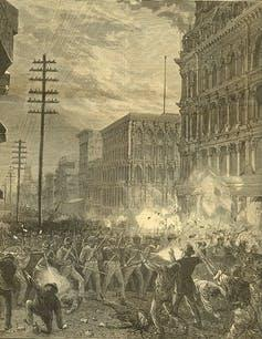 Black and white illustration of militia in city streets