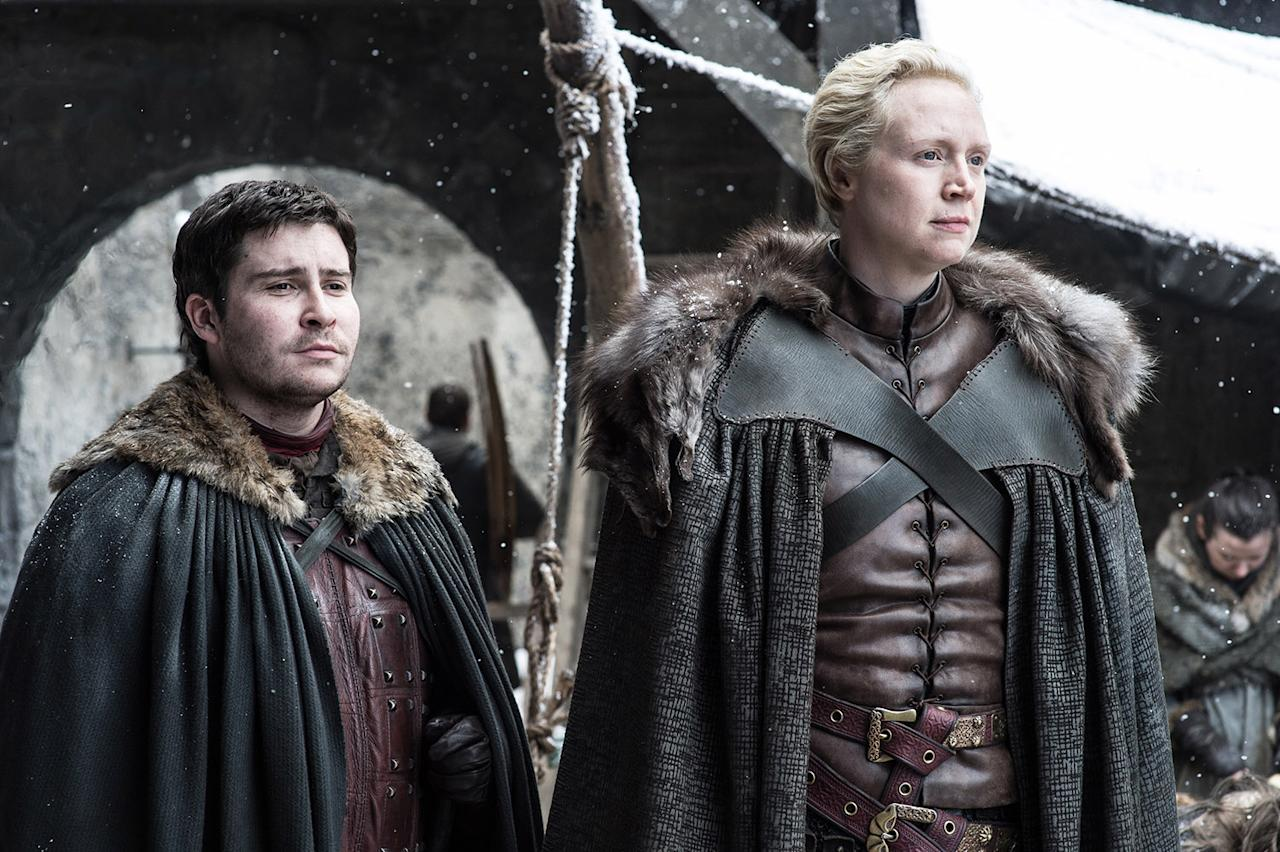 <p>Daniel Portman as Podrick Payne and Gwendoline Christie as Brienne of Tarth in HBO's Game of Thrones<br /> (Photo: Helen Sloan/HBO) </p>