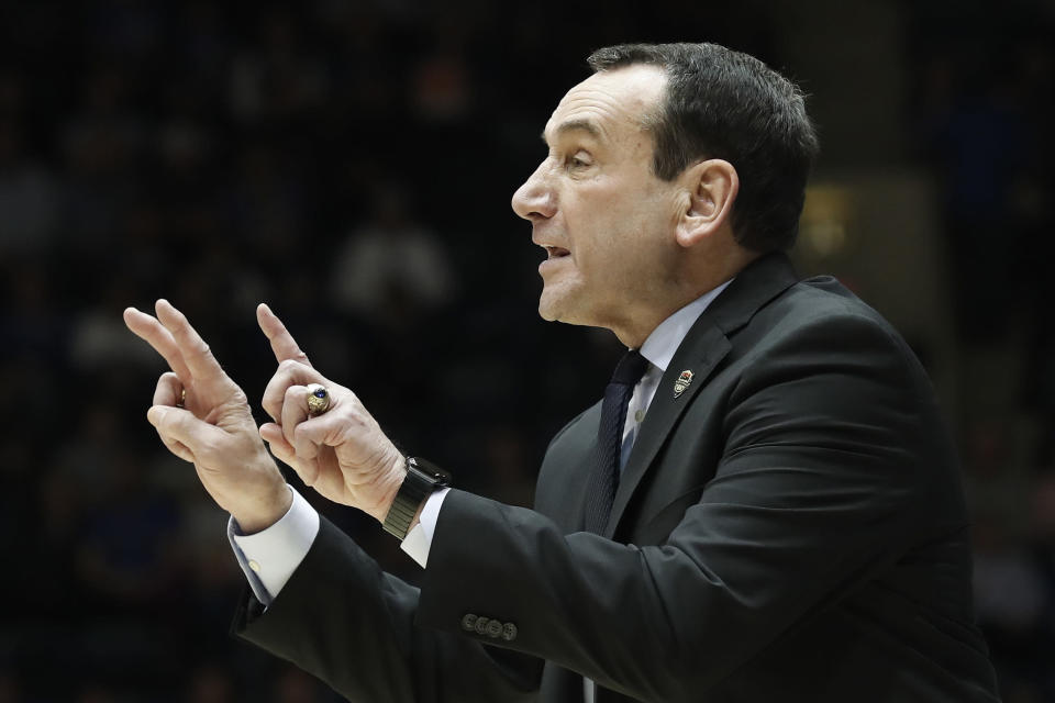 FILE - In this Jan. 28, 2020, file photo, Duke coach Mike Krzyzewski gestures during the second half of the team's NCAA college basketball game against Pittsburgh in Durham, N.C. Krzyzewski's ninth-ranked Blue Devils are picked to finish second in the Atlantic Coast Conference behind No. 4 Virginia. (AP Photo/Gerry Broome, File)