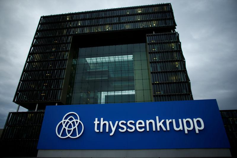 FILE PHOTO: A ThyssenKrupp logo outside its Essen headquarters