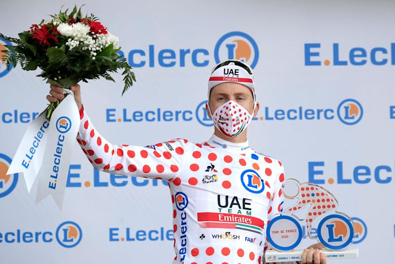 MERIBEL FRANCE SEPTEMBER 16 Podium Tadej Pogacar of Slovenia and UAE Team Emirates Polka Dot Mountain Jersey Celebration during the 107th Tour de France 2020 Stage 17 a 170km stage from Grenoble to Mribel Col de la Loze 2304m TDF2020 LeTour on September 16 2020 in Mribel France Photo by Christophe PetitTesson PoolGetty Images