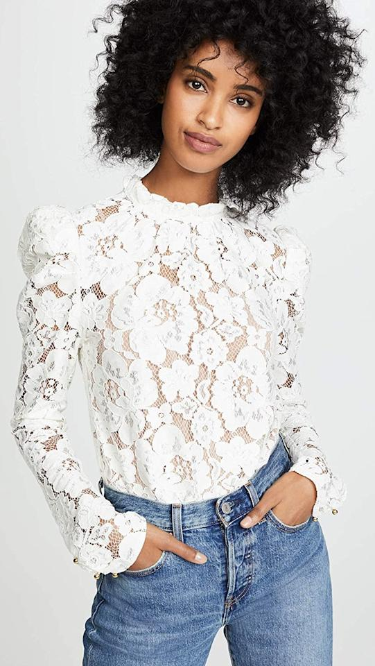 """<p>We adore the lace detail on this <product href=""""https://www.amazon.com/WAYF-Womens-Sleeve-Ivory-Small/dp/B07HF9KQD3/ref=sr_1_51?crid=OZKENXZAC3UU&amp;dchild=1&amp;keywords=shopbop%2Bfor%2Bwomen&amp;qid=1598045154&amp;sprefix=shopbop%2Caps%2C228&amp;sr=8-51&amp;th=1&amp;psc=1"""" target=""""_blank"""" class=""""ga-track"""" data-ga-category=""""Related"""" data-ga-label=""""https://www.amazon.com/WAYF-Womens-Sleeve-Ivory-Small/dp/B07HF9KQD3/ref=sr_1_51?crid=OZKENXZAC3UU&amp;dchild=1&amp;keywords=shopbop%2Bfor%2Bwomen&amp;qid=1598045154&amp;sprefix=shopbop%2Caps%2C228&amp;sr=8-51&amp;th=1&amp;psc=1"""" data-ga-action=""""In-Line Links"""">WAYF Emma Puff Sleeve Lace Top</product> ($89).</p>"""