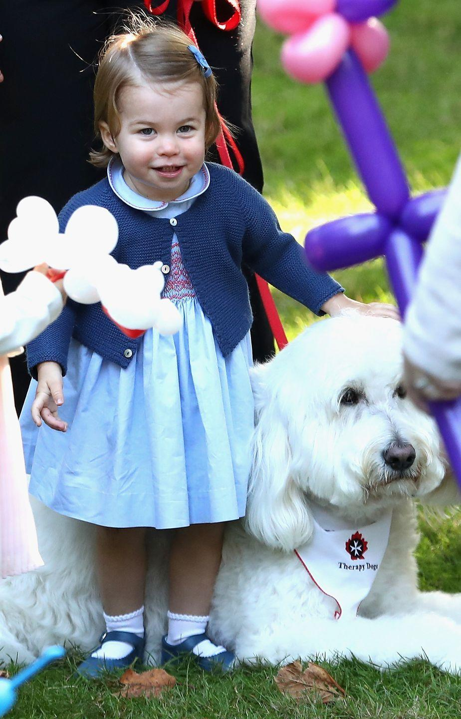 <p>Princess Charlotte pets a dog at a children's party for military families during the Royal Tour of Canada.</p>