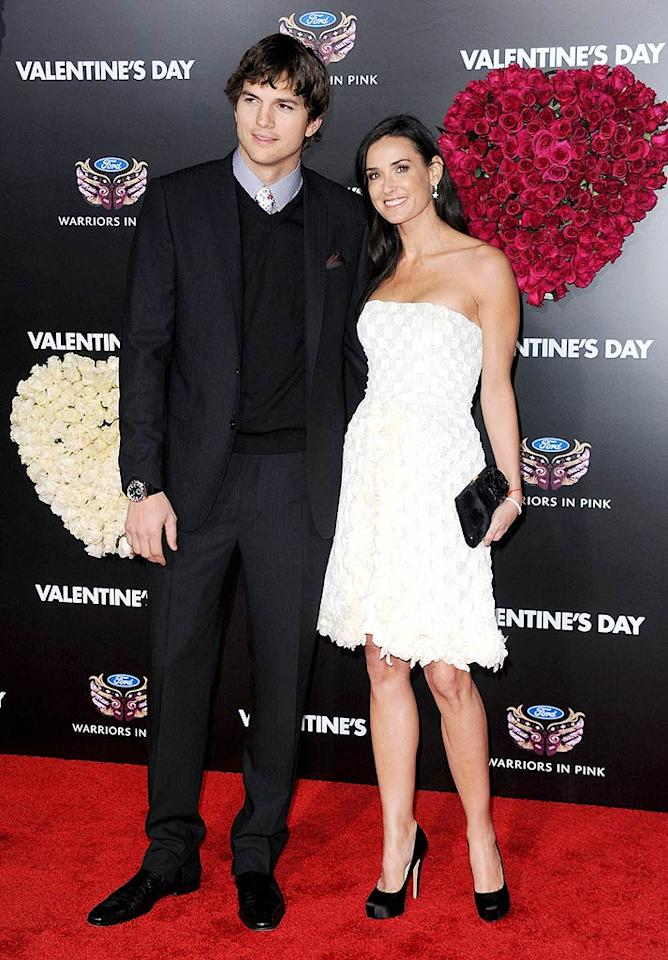 """Following in Jessica's footsteps ... one of the rom-com's stars, Ashton Kutcher, and his breathtakingly beautiful wife, Demi Moore, who donned an ivory-colored couture creation courtesy of Chanel. Frazer Harrison/<a href=""""http://www.gettyimages.com/"""" target=""""new"""">GettyImages.com</a> - February 8, 2010"""
