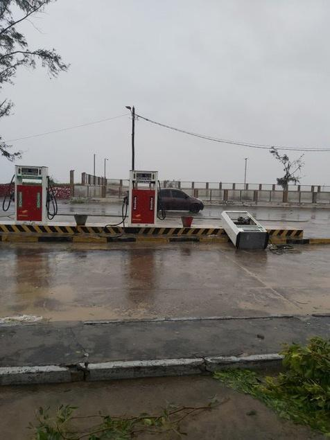 A view of a damaged gas station after cyclone Eloise in Beira